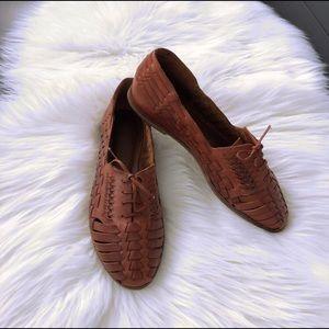 Vintage Huarache Oxford Lace-up Flats